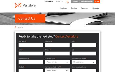 Screenshot of Contact Page vertafore.com - Contact | Vertafore - captured Oct. 29, 2014