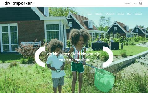 Screenshot of Home Page droomparken.nl - Droomparken, vakantieparken met luxe koop- en verhuuraccommodaties in heel Nederland - captured Aug. 8, 2018