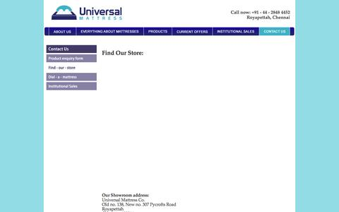 Screenshot of Maps & Directions Page universalmattress.in - Universal Mattress Co. - Find our Store - captured Oct. 6, 2014