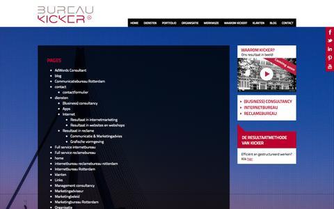 Screenshot of Site Map Page bureaukicker.nl - Sitemap - Bureau Kicker Rotterdam - captured Sept. 30, 2014
