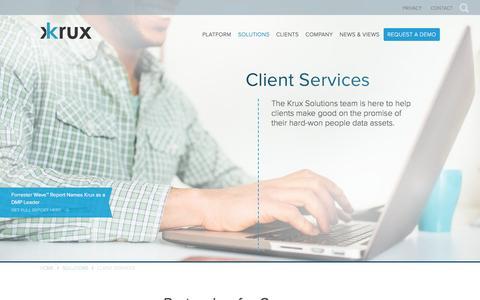 Screenshot of Services Page krux.com - Krux Data Services | Krux - captured Sept. 9, 2016