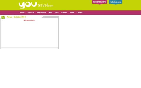 Screenshot of Press Page youtravel.com - News on Youtravel.com - captured Oct. 27, 2014
