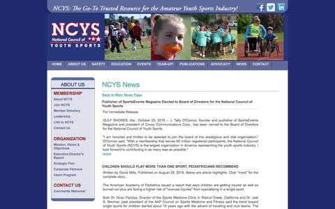 Screenshot of Press Page ncys.org - National Council of Youth Sports (NCYS) - captured Nov. 28, 2016