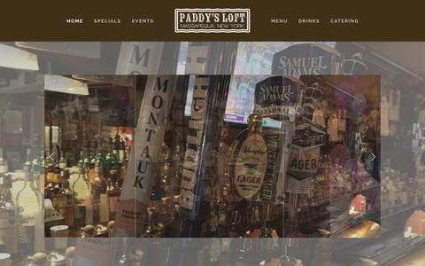 Screenshot of Home Page paddysloft.com - Paddy's Loft Restaurant - Pub - Catering - captured July 2, 2018