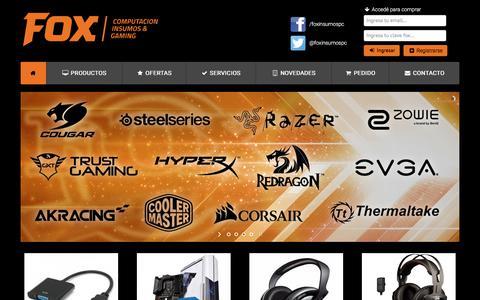 Screenshot of Home Page foxinsumospc.com.ar - FOX INSUMOS - captured Sept. 23, 2018