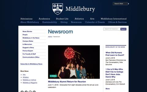 Screenshot of Press Page middlebury.edu - Newsroom | Middlebury - captured June 13, 2018