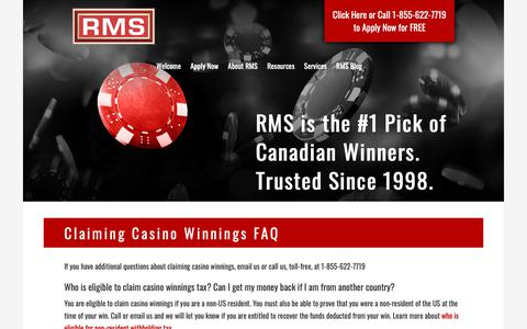 Screenshot of FAQ Page refundmanagement.com - Claiming Casino Winnings - Frequently Asked Questions | RMS - captured Oct. 20, 2018