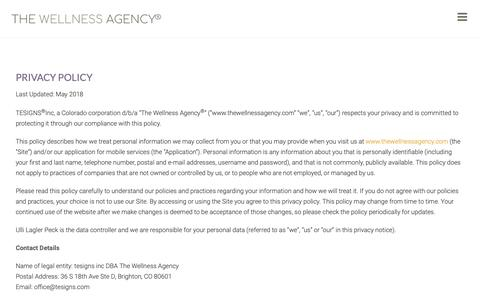 Screenshot of Privacy Page thewellnessagency.com - Privacy Policy | The Wellness Agency - captured Oct. 20, 2018