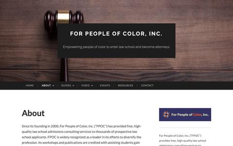 Screenshot of About Page forpeopleofcolor.org - About | For People of Color, Inc. - captured Dec. 19, 2018
