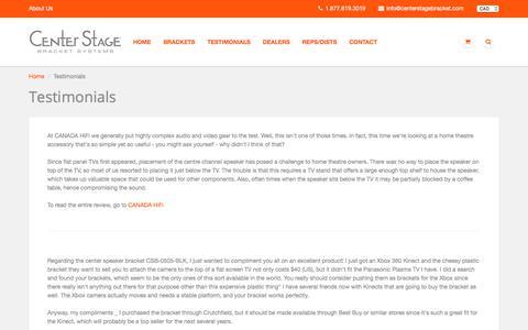 Screenshot of Testimonials Page centerstagebracket.com - Testimonials – Center Stage Bracket Systems - captured July 19, 2017