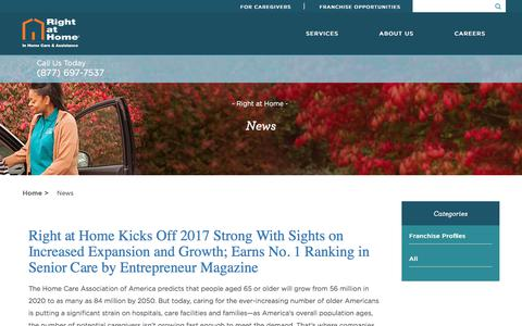 Screenshot of Press Page rightathome.net - Home Care News | Senior Care News | Right at Home - captured Feb. 27, 2018
