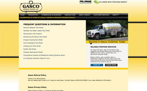 Screenshot of Privacy Page FAQ Page gascopropane.com - Propane Lake of the Ozarks - captured Oct. 2, 2014