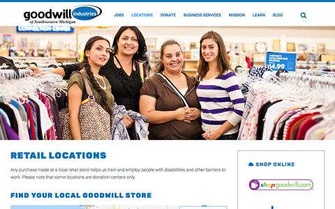 Screenshot of Locations Page goodwillswmi.org - Goodwill Industries of Southwestern Michigan. - Locations - captured Sept. 24, 2018