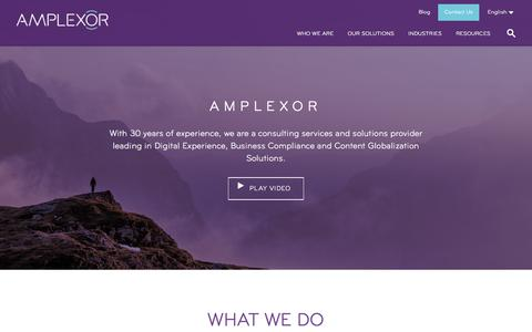 Screenshot of Home Page amplexor.com - Digital Experience, Content Management and Translation - AMPLEXOR - captured May 10, 2018