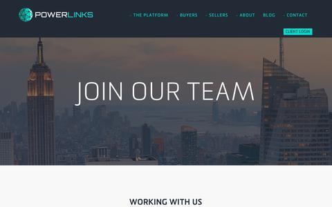 Screenshot of Jobs Page powerlinks.com - PowerLinks Careers - PowerLinks - captured May 1, 2019