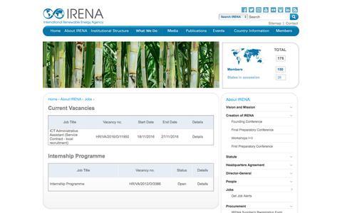 Screenshot of Jobs Page irena.org - IRENA | Jobs - captured Nov. 19, 2016
