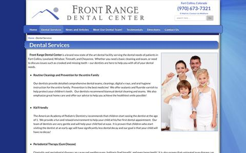 Screenshot of Services Page frontrangedentalcenter.com - Dental Services | Fort Collins Dentist - captured Oct. 6, 2014