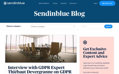 Screenshot of Blog sendinblue.com - GDPR Compliance: Expert Interview with Thiébaut Devergranne | Sendinblue - captured Nov. 1, 2019