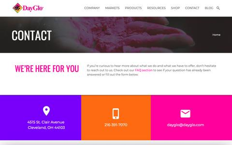 Screenshot of Contact Page dayglo.com - DayGlo Color Corp | Contact Us - captured Nov. 13, 2018