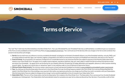 Screenshot of Terms Page smokeball.com - Terms of Service | Smokeball Legal Case Management Software - captured Aug. 21, 2017