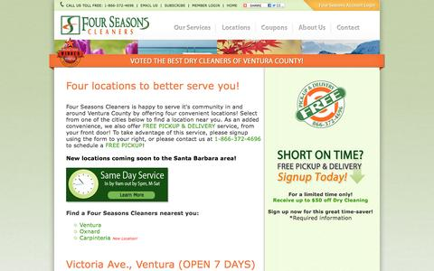 Screenshot of Locations Page 4seasonscleaners.net - Dry Cleaners in Ventura, California - Four Seasons Cleaners - captured Feb. 10, 2016