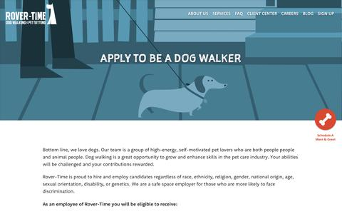 Screenshot of Jobs Page rover-time.com - Looking for a dog walking job? Passionate? Qualified? Apply! - captured Oct. 20, 2018