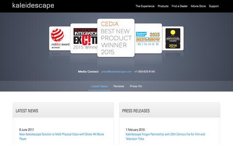 Screenshot of Press Page kaleidescape.com - Kaleidescape's Latest News & Press Releases | Kaleidescape.com - captured June 9, 2017