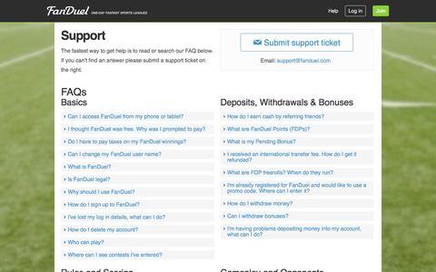 Screenshot of Support Page fanduel.com - Support  | FanDuel - captured Sept. 16, 2014