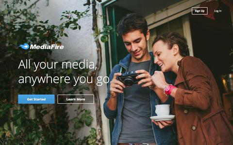 Screenshot of Home Page mediafire.com - Simple File Sharing and Storage. - captured June 17, 2015
