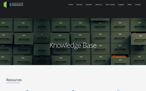 Screenshot of Support Page hexistor.com - Knowledge Base – Hexistor - captured July 6, 2018