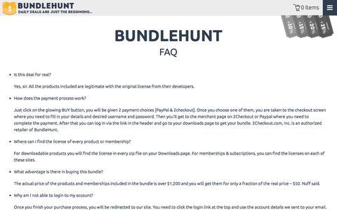 Screenshot of FAQ Page bundlehunt.com - FAQ | BundleHunt - captured Sept. 24, 2014