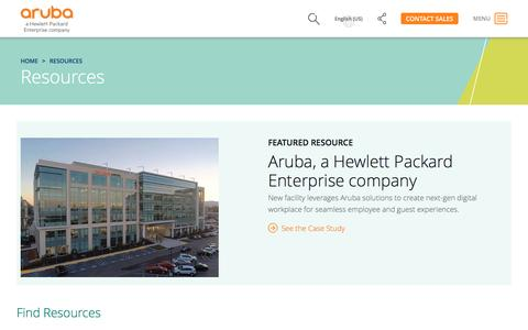 Screenshot of Case Studies Page arubanetworks.com - Resources | Aruba, a Hewlett Packard Enterprise company - captured April 27, 2017