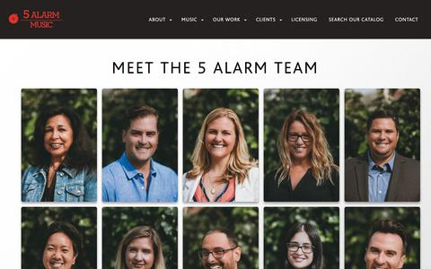 Screenshot of Team Page 5alarmmusic.com - Our Team |  5 Alarm Music - captured Sept. 21, 2018