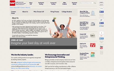 Screenshot of About Page gaf.com - GAF | Careers About Us - captured Oct. 28, 2014