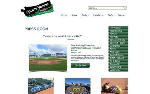 Screenshot of Press Page sportsvenuepadding.com - Sports Venue Padding – Outdoor | Indoor | Padding | Press Room - captured Oct. 27, 2017
