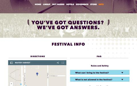 Screenshot of FAQ Page Maps & Directions Page rt91harvest.com - INFO - Route 91 Harvest Route 91 Harvest - captured March 24, 2016