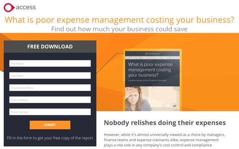 Screenshot of Landing Page theaccessgroup.com - aCloud Expense report | The cost of poor expense management - captured June 24, 2017