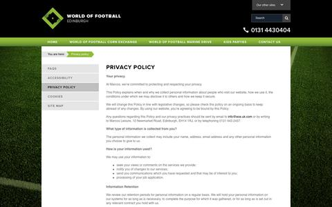 Screenshot of Privacy Page worldoffootball.com - Privacy policy | World of Football - captured Sept. 21, 2018