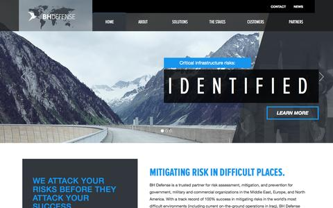 Screenshot of Home Page bhdefense.com - BH Defense - Mitigating Risks in Difficult Places - captured Oct. 4, 2014