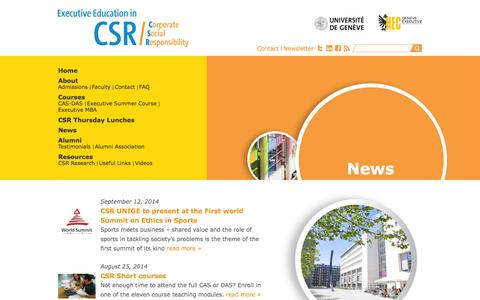 Screenshot of Press Page unige.ch - Corporate Social Responsibility - captured Sept. 18, 2014