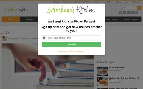 Screenshot of Jobs Page archanaskitchen.com - Jobs | Careers by Archana's Kitchen - Simple Recipes & Cooking Ideas - captured Nov. 7, 2016