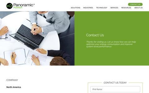 Screenshot of Contact Page panpwr.com - Contact Panoramic Power - captured June 17, 2015
