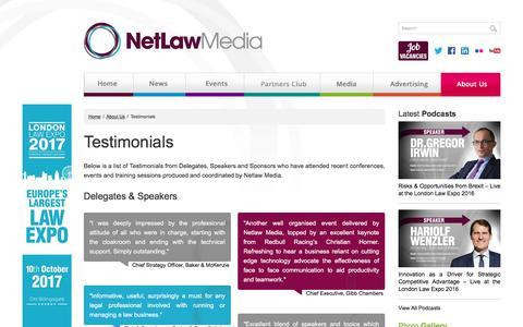 Screenshot of Testimonials Page netlawmedia.com - Testimonials - Netlaw Media - captured Dec. 15, 2016