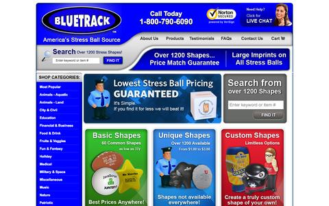 Screenshot of Products Page bluetrack.com - Customized Stress Balls - BLUETRACK™ - 1200+ Shapes Available - captured Oct. 4, 2014