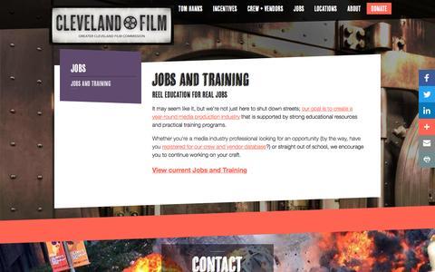 Screenshot of Jobs Page clevelandfilm.com - Jobs & Training - captured Nov. 15, 2016