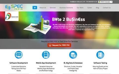 Screenshot of Home Page spec-india.com - Custom Software, BI-Big Data & Mobile Application Development Company | SPEC INDIA - captured July 16, 2015