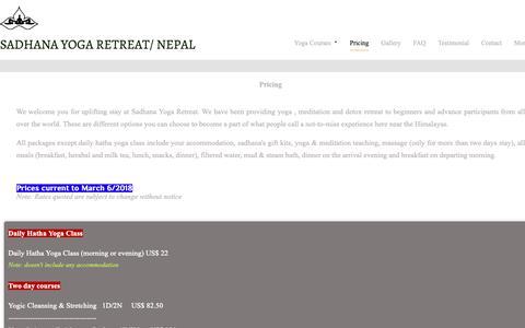 Screenshot of Pricing Page sadhana-asanga-yoga.com - sadhana yoga retreat center/prices - captured Oct. 1, 2018