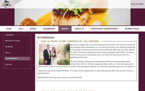 Screenshot of Testimonials Page glenoakscc.com - Testimonials - Glen Oaks Country Club - captured Sept. 28, 2018