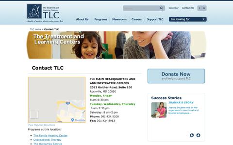 Screenshot of Contact Page ttlc.org - Contact The Treatment and Learning Centers  | The Treatment and Learning Centers - captured May 29, 2019