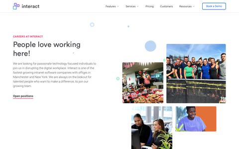 Screenshot of Jobs Page interact-intranet.com - Careers | Interact software - captured May 24, 2019
